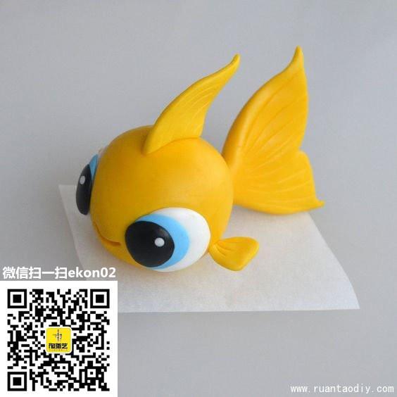 黄色可爱小金鱼陶艺diy作品欣赏